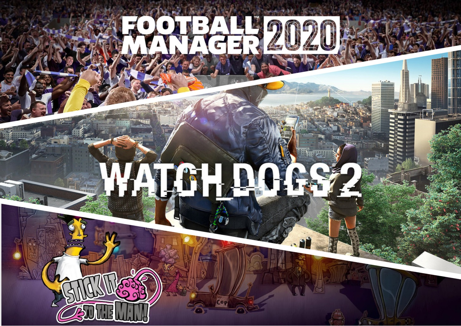 В EGS началась раздача трёх игр: Watch Dogs 2, Football Manager 2020 и Stick It to the Man!